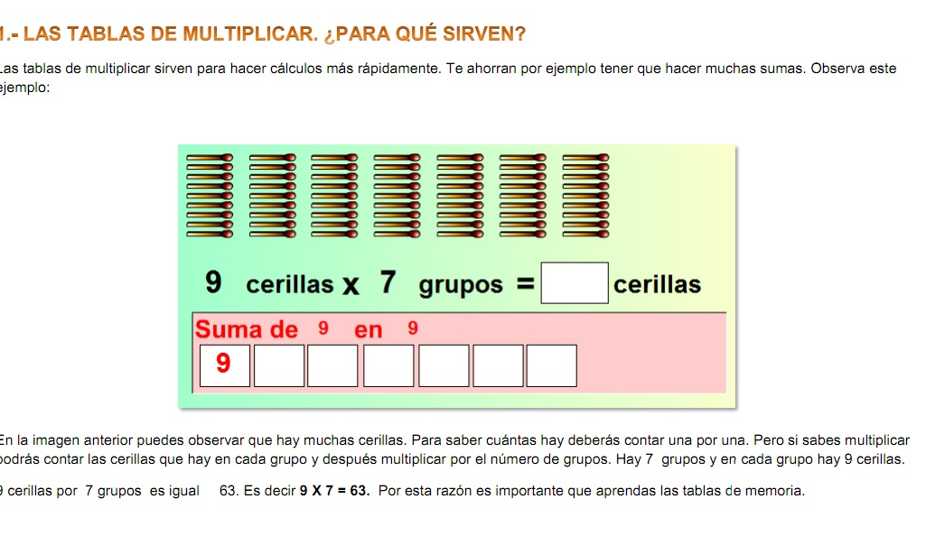 Las tablas de multiplicar | Recurso educativo 37331