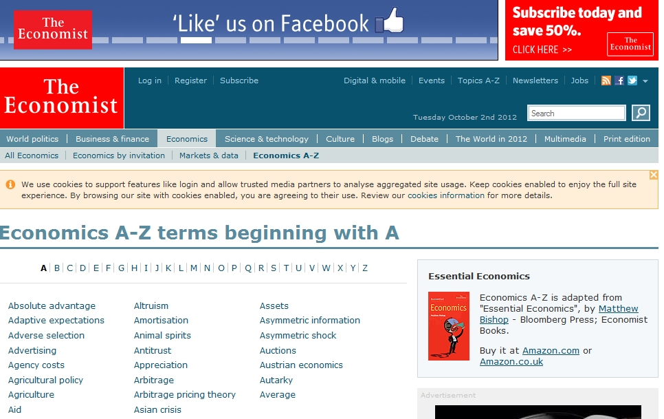 Economics A-Z terms| The Economist | Recurso educativo 89071